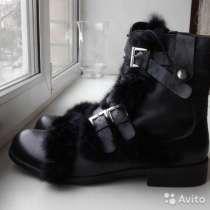 Ботинки сапоги новые размер 43 зима кожа мужские чёрные мех, в Москве