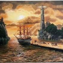 """Картина """"Морской закат"""", 50х75см, холст, масло, в г.Киев"""
