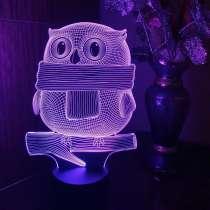 3D светильник сова в шарфике, в Москве
