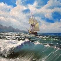 Картина - Волна море и корабль парусник, в г.Минск
