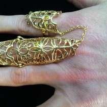 Модное кольцо на 2 пальца, в Москве