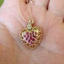 Кулон-сердце,14 рубинов, бриллиант, 14кт, винтаж, в Москве