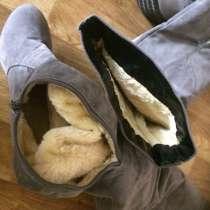 Сапоги женские тёплые замша 36-37 размер новые, в Комсомольске-на-Амуре