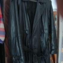 Мужское длинное кожаное пальто. Размер 54-60, в Гусь Хрустальном