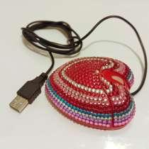Компьютерная мышь HEART со стразами проводная USB, в Москве