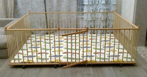 Манеж детский самый большой деревянный 2.0х2.5м для двойни с калиткой для малышей