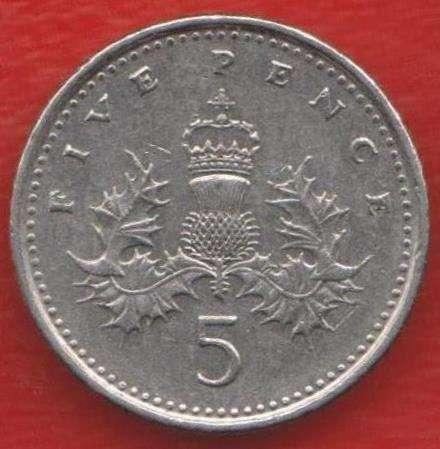 Великобритания Англия 5 пенни 1992 г. Елизавета II