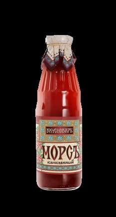 """Морс """"Вкусновар"""" клюквенный в стеклянной бутылке, 0.73 литра"""