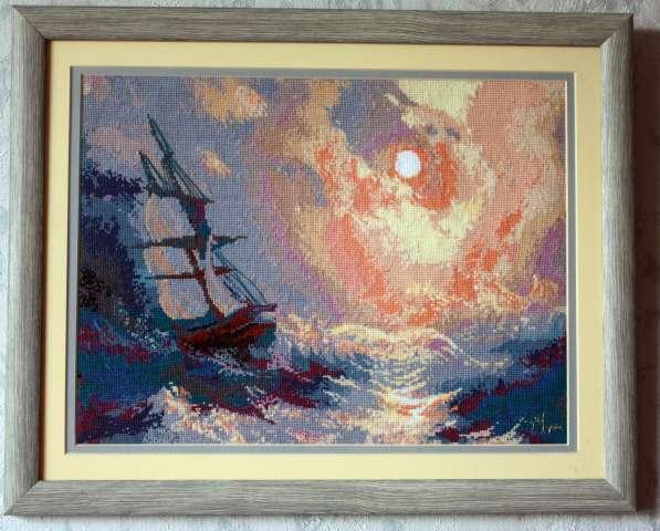 Картина «Буря на море ночью», ручная работа, вышивка