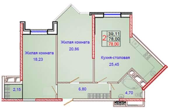 2-комнатная квартира 78 кв. м. с витражным остекленением