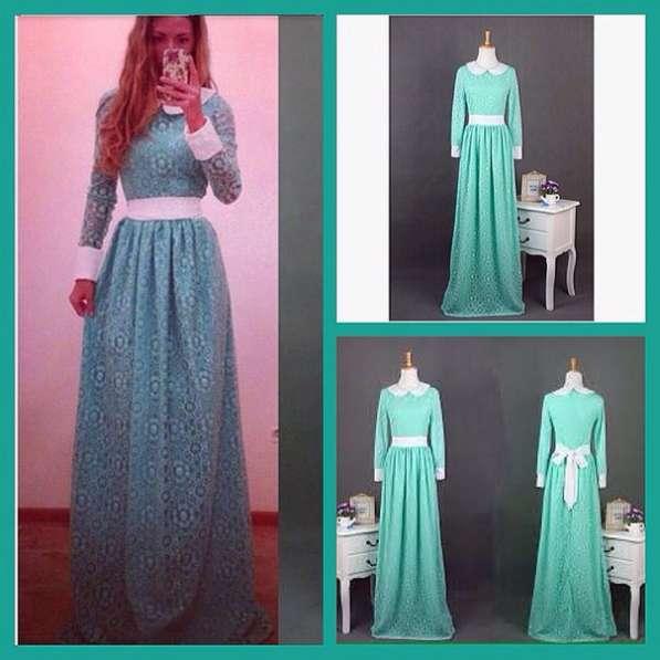 Кружевное длинное платье