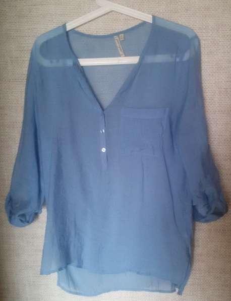 Блузка голубая, р-46