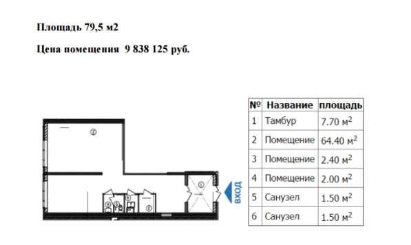 Коммерческое помещение свободного назначения 79,5 м2
