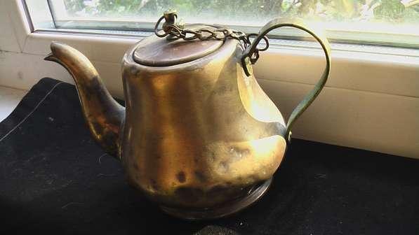 Заварочный чайник старинный медный не дырявый.состояние на ф