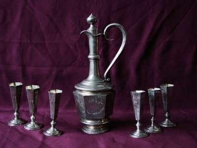 Старинный ликеро-водочный набор. Серебро, Россия, 1870-е гг