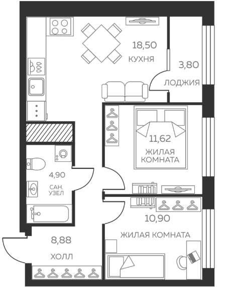 Отличная 2 кв.-комфотр, в новом доме ул. Восточная 31, ЖК в Екатеринбурге фото 5