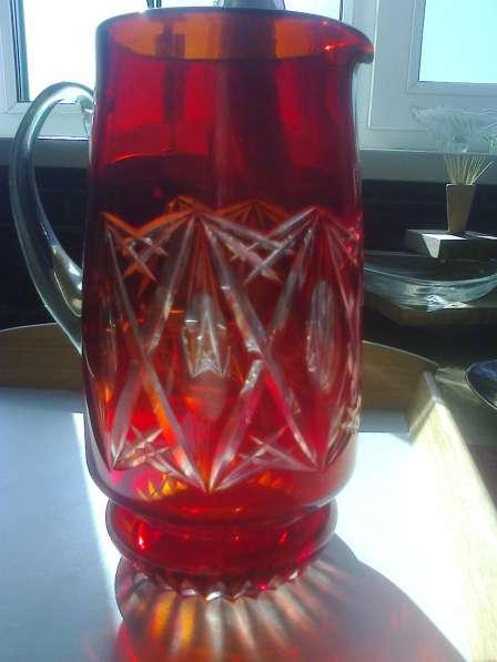 Кувшин, рубиновое стекло с алмазной гранью