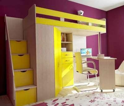 Фанки Соло 1 Кровать-чердак, цвет бук и