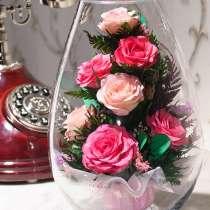 Живые цветы в герметичных вазах на 5 лет оптом и в розницу, в Москве