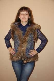 Женская жилетка из павлопосадского платка с натуральным мехо, в Хабаровске