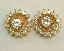 Серьги - гвоздики золото бриллианты жакеты, в Калининграде