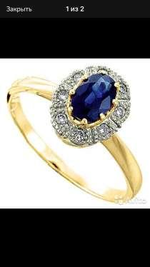 Золотое кольцо с бриллиантами и сапфиром, новое, в Санкт-Петербурге