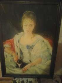 Картина маслом девушка с котом, в г.Павлодар