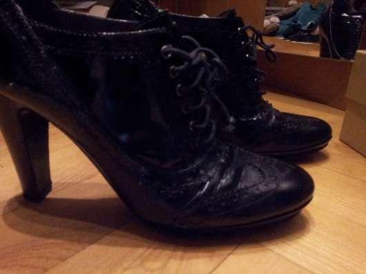 FABI полуботинки 38 р кожа/кожа черные каблук 9 см