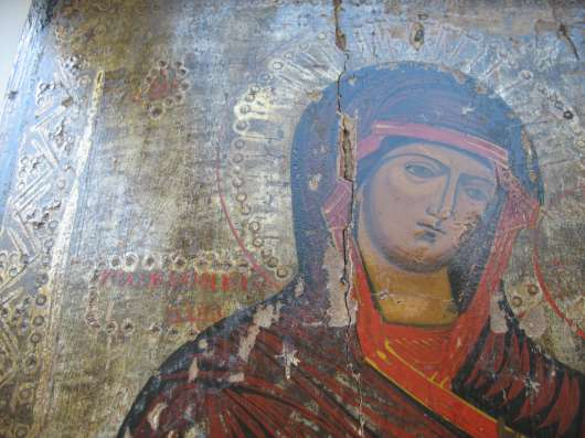 Старинная икона.Тихвинская БГ .На серебре