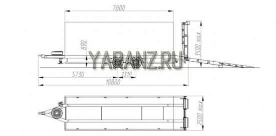 """4. Прицеп низкорамный """"Тандем"""" 16 тонник  7,8 метровый"""
