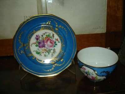 Старин.чашка и тарелочка,фарфор,живопись