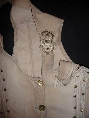 Юбка джинсовая, жилет, блузка, Promod, р-44