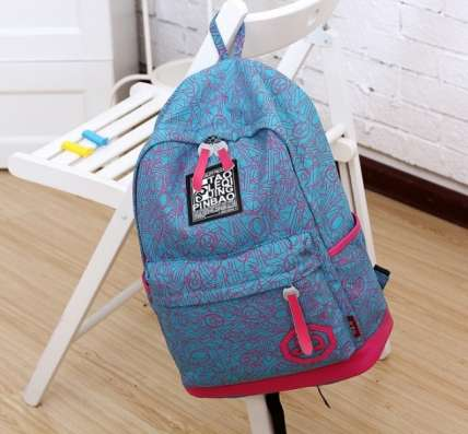 Стильный городской рюкзак JQ черный голубой красный