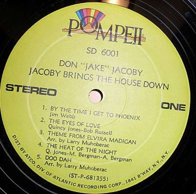 """Пластинка.Don """"Jake"""" Jacoby – Jacoby Brings The House Down"""