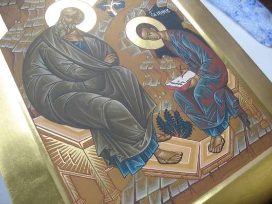 Икона храмовая. Евангелист Иоан и Прохор. На золоте в Москве Фото 4