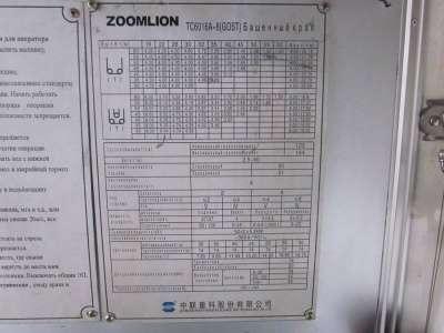 кран башенный Zoomlion TC6016A-8 в Кирове Фото 1