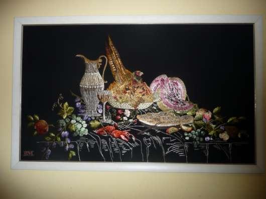 Картина ручной работы вышитая по технике гладь
