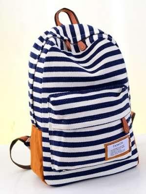 Городской рюкзак полоска черная синяя красная